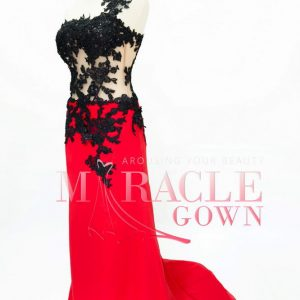 Sewa Gaun Surabaya - Miracle Gown - Basque of Midnight Black Brocade
