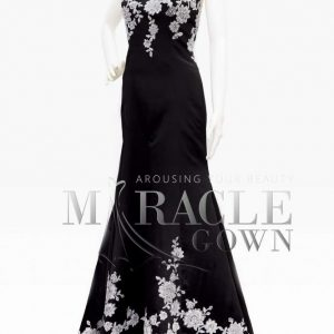 Sewa Gaun Surabaya - Miracle Gown - Black du Jour Dress with Jasmine Roses
