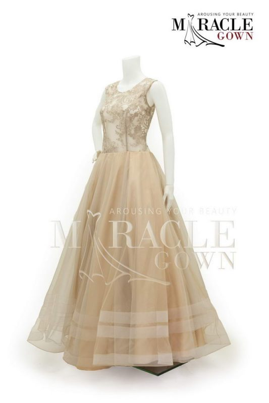 Sewa Gaun Surabaya - Miracle Gown Couture 2015 - Creme and gold lace on flare dress