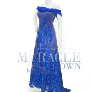 Sewa Gaun Surabaya - Miracle Gown Couture 2015 - Floral peacock in Royal blue sabrina