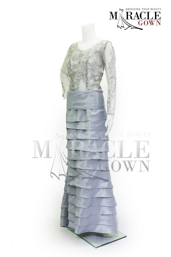 Sewa Gaun Surabaya - Miracle Gown Couture 2015 - Frozen flower in silver rustic