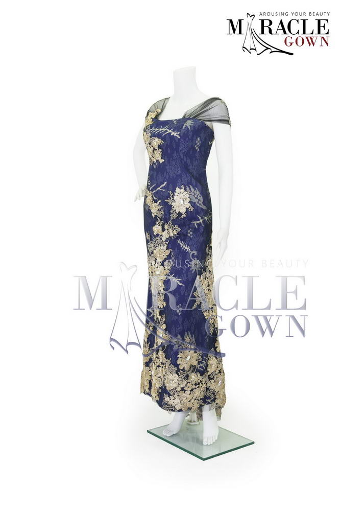 Sewa Gaun Surabaya - Miracle Gown Couture 2015 - Golden flower in violet blue lace gown