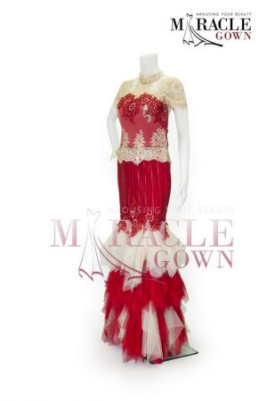 Sewa Gaun Surabaya - Miracle Gown Couture 2015 - Imperial gold in red flourished tille