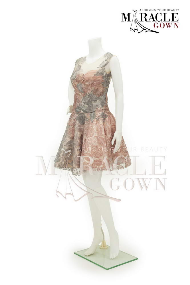 Sewa Gaun Surabaya - Miracle Gown Couture 2015 - Pinkish brown roses on cocktail dress