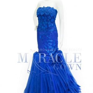 Sewa Gaun Surabaya - Miracle Gown Couture 2015 - Pleated loop in the dazzling blue gown
