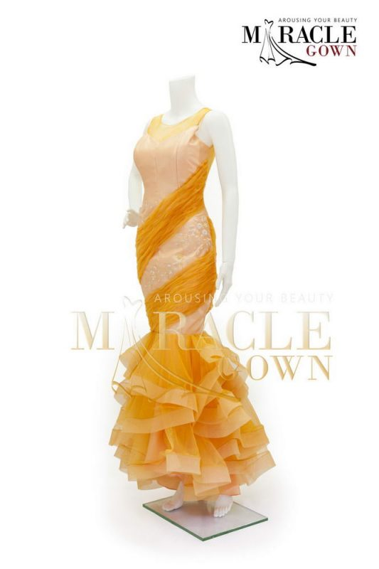 Sewa Gaun Surabaya - Miracle Gown Couture 2015 - Pleats and ruffles in amber orange