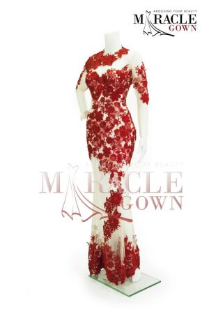 Sewa Gaun Surabaya - Miracle Gown Couture 2015 - The braided scarlet chrysanthemum spray