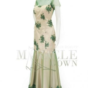 Sewa Gaun Surabaya - Miracle Gown - Double layer green latte brocade