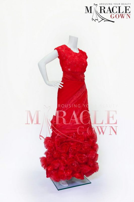 Sewa Gaun Surabaya - Miracle Gown - Flock Roses Victorian Red Gown