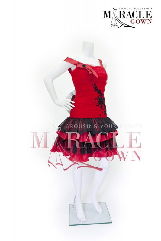 Sewa Gaun Surabaya - Miracle Gown - Gauzy strapped scarlet dress