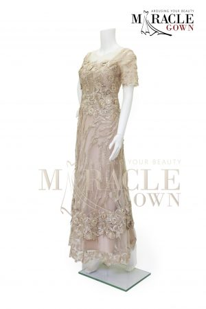 Sewa Gaun Surabaya - Miracle Gown - Golden tier on seer evening gown