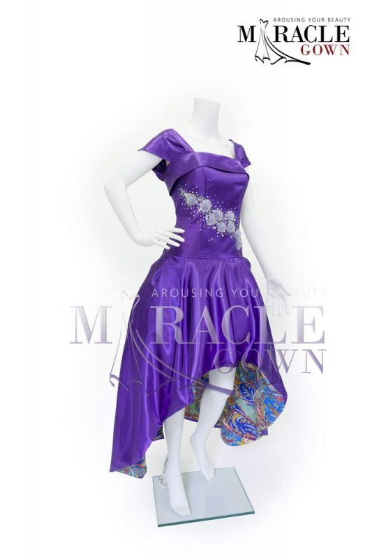 Sewa Gaun Surabaya - Miracle Gown - Jeweled full cloack violet dress