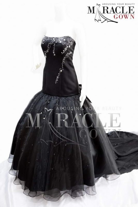 Sewa Gaun Surabaya - Miracle Gown - Midnight Black Ball Gown with Diamons Spine