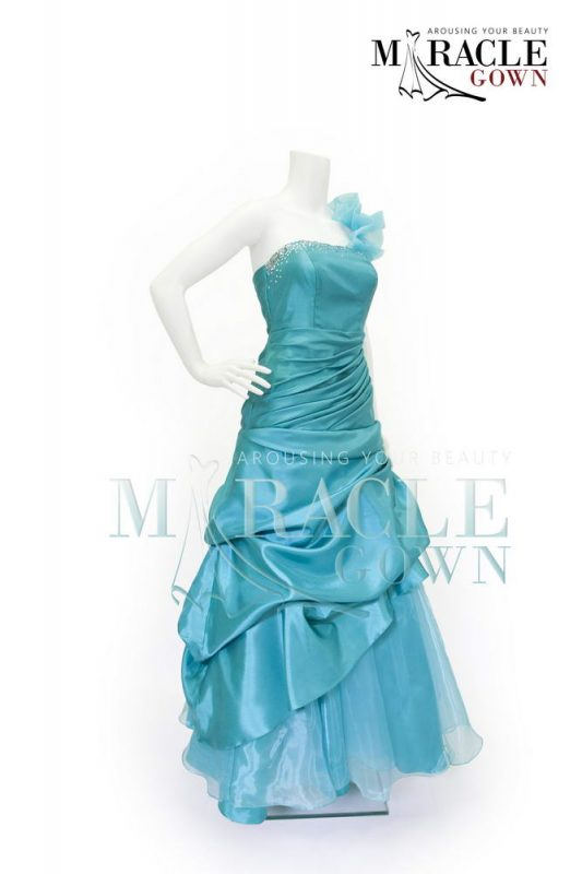 Sewa Gaun Surabaya - Miracle Gown - One shoulder tuft flare gown