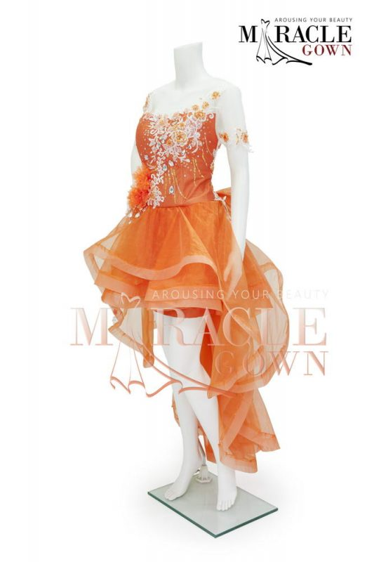Sewa Gaun Surabaya - Miracle Gown - Orenji floral pom asymetric dress