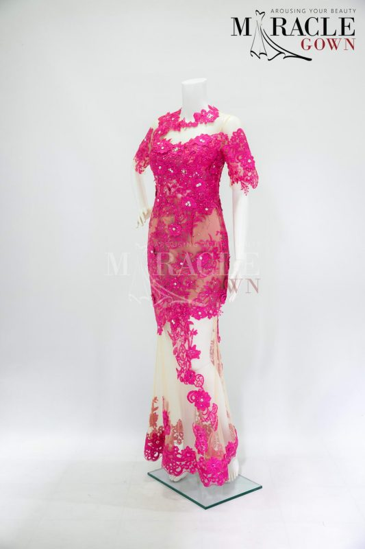 Sewa Gaun Surabaya - Miracle Gown - Raspberry brocade on cream tille long dress