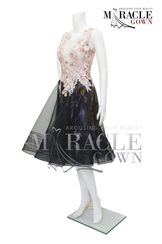 Sewa Gaun Surabaya - Miracle Gown - Rose gold floral on striped midi dress