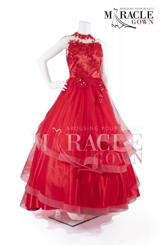 Sewa Gaun Surabaya - Miracle Gown - Royal red drapped gown