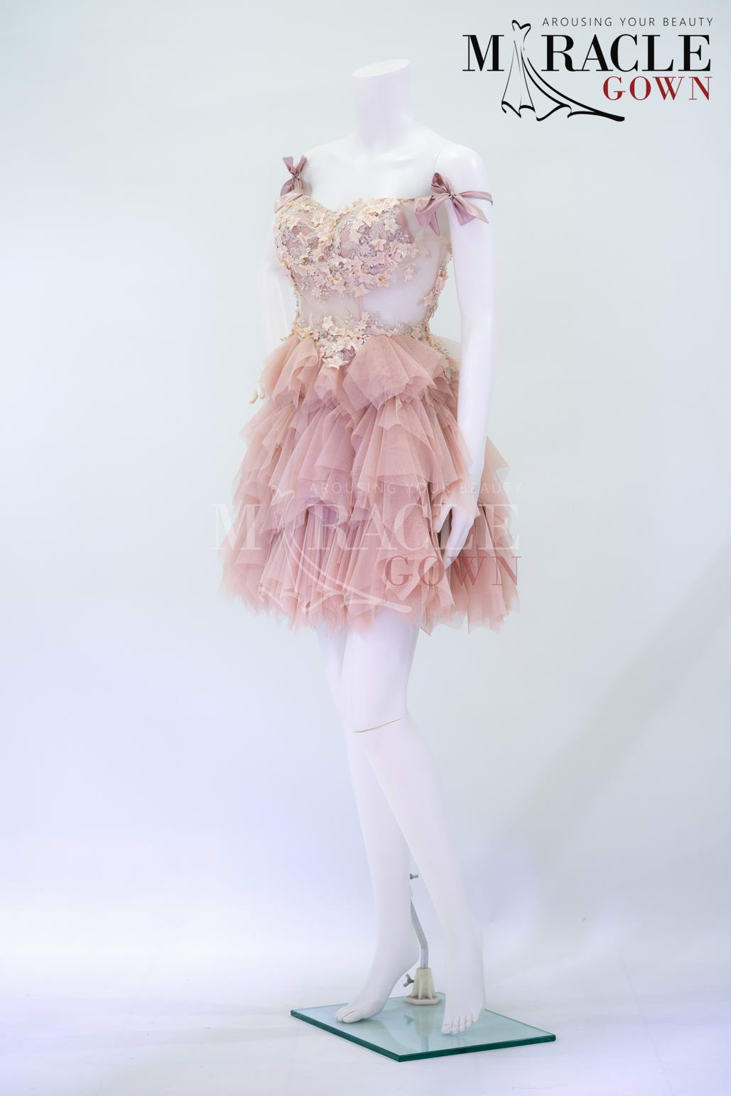 Sewa Gaun Surabaya - Miracle Gown - Ruff and layered in light pink peony