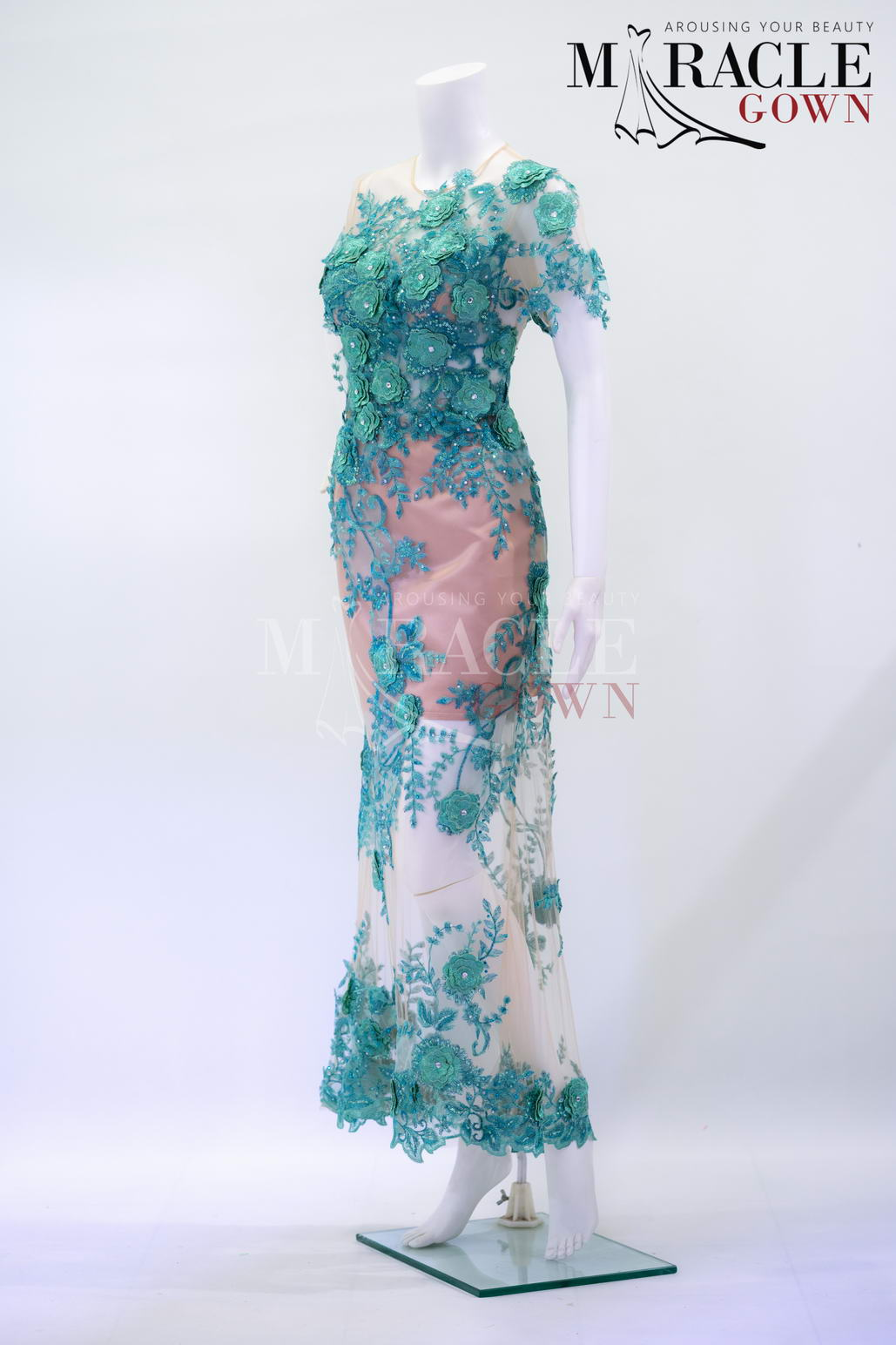 Sewa Gaun Surabaya - Miracle Gown - Seer emerald green layered chiffon