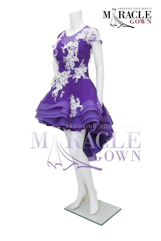Sewa Gaun Surabaya - Miracle Gown - Shades of violet within white tier brocade