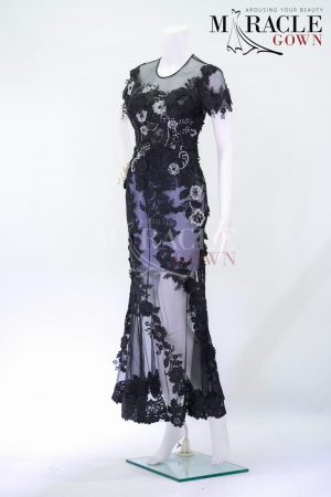 Sewa Gaun Surabaya - Miracle Gown - Silvermist x dark brocade evening dress