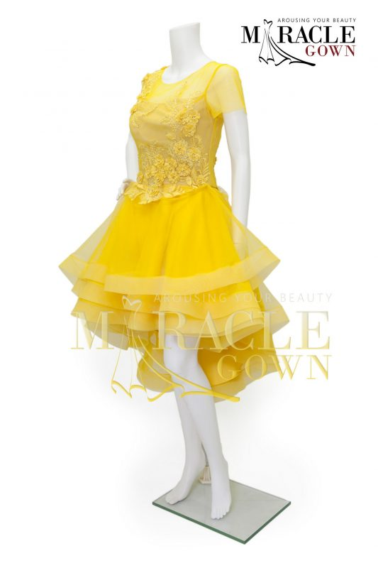 Sewa Gaun Surabaya - Miracle Gown - Silvery beads on sunflower ruffle dress