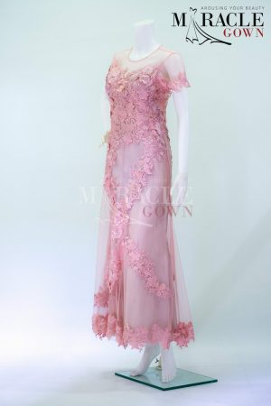 Sewa Gaun Surabaya - Miracle Gown - Spray rose in long gown naked lace