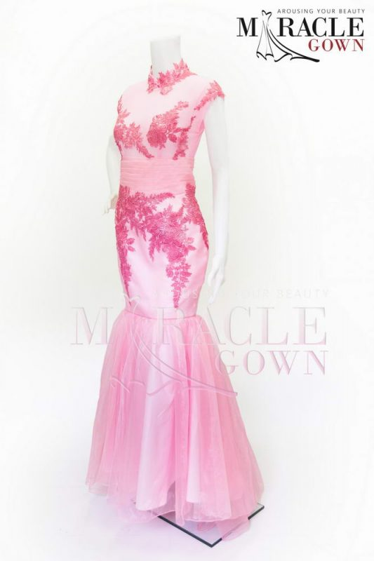 Sewa Gaun Surabaya - Pink Chinese Embroidery Long Dress