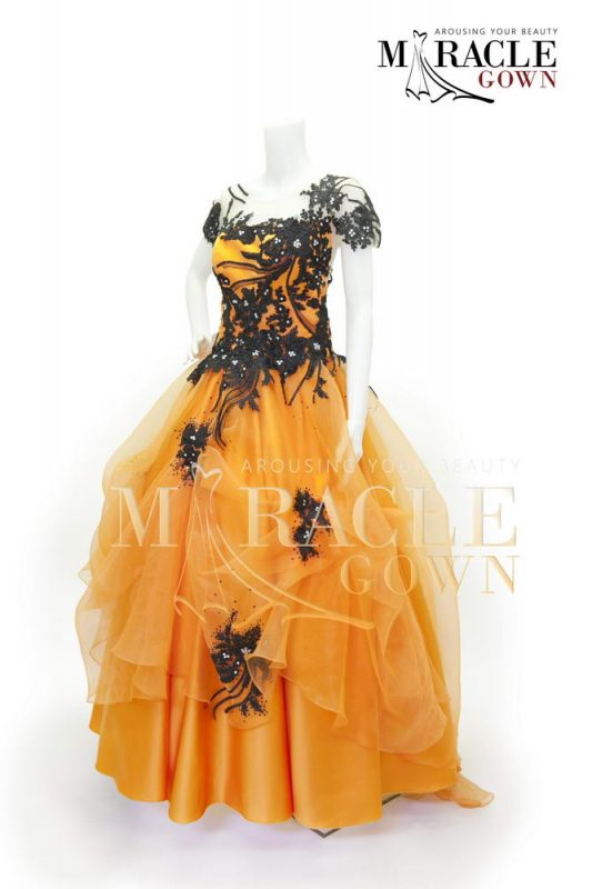 sewa gaun - Miracle Gown - Amber orange drapping flower.jpg
