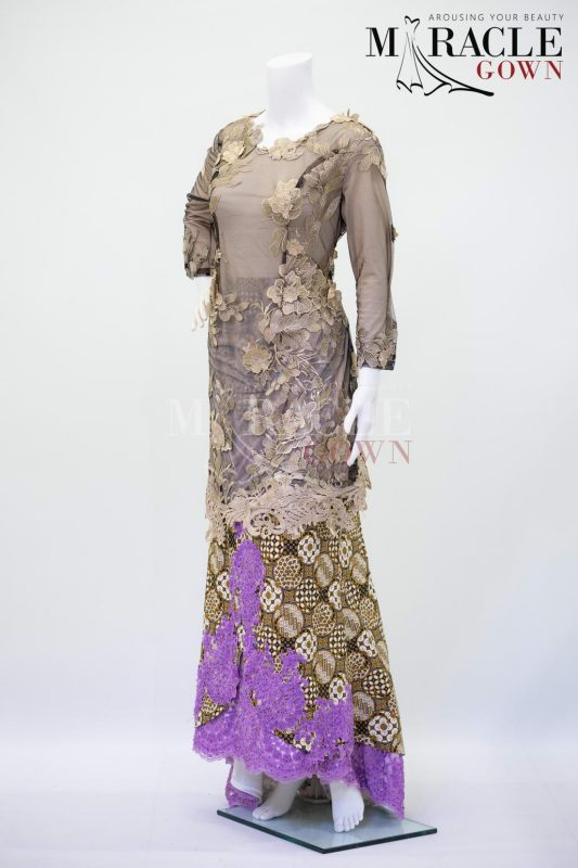 Sewa Gaun Surabaya - Miracle Gown - Embroidery latte in purple tinted kebaya
