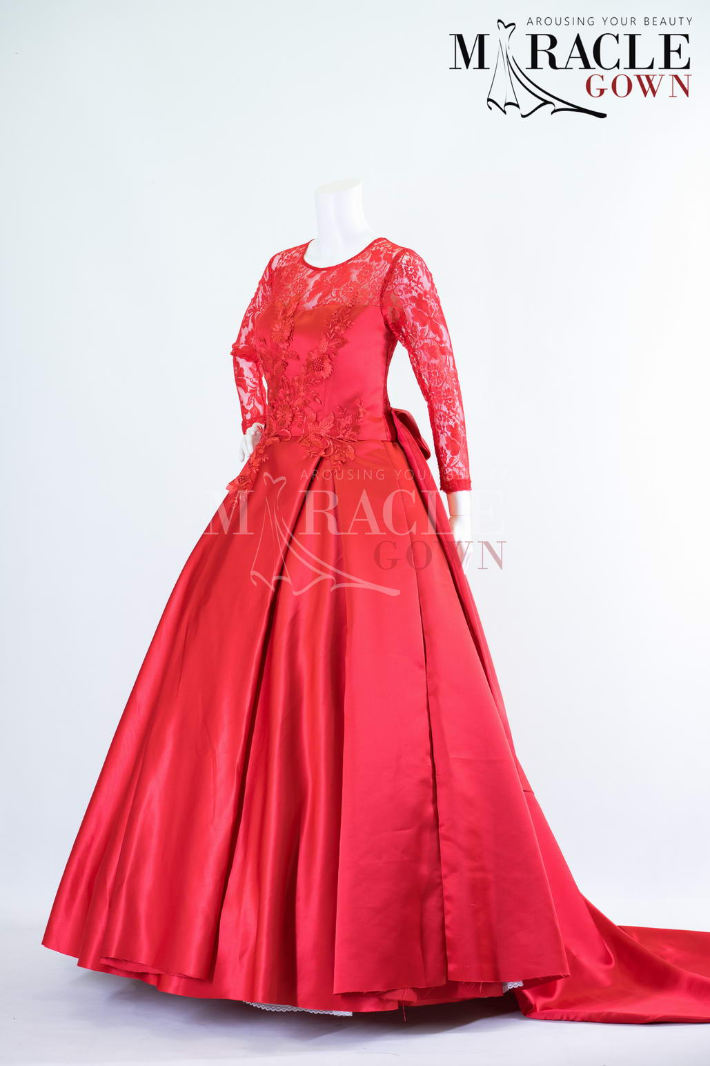 Sewa Gaun Surabaya - Miracle Gown - Floral sequence on ruby red ball gown