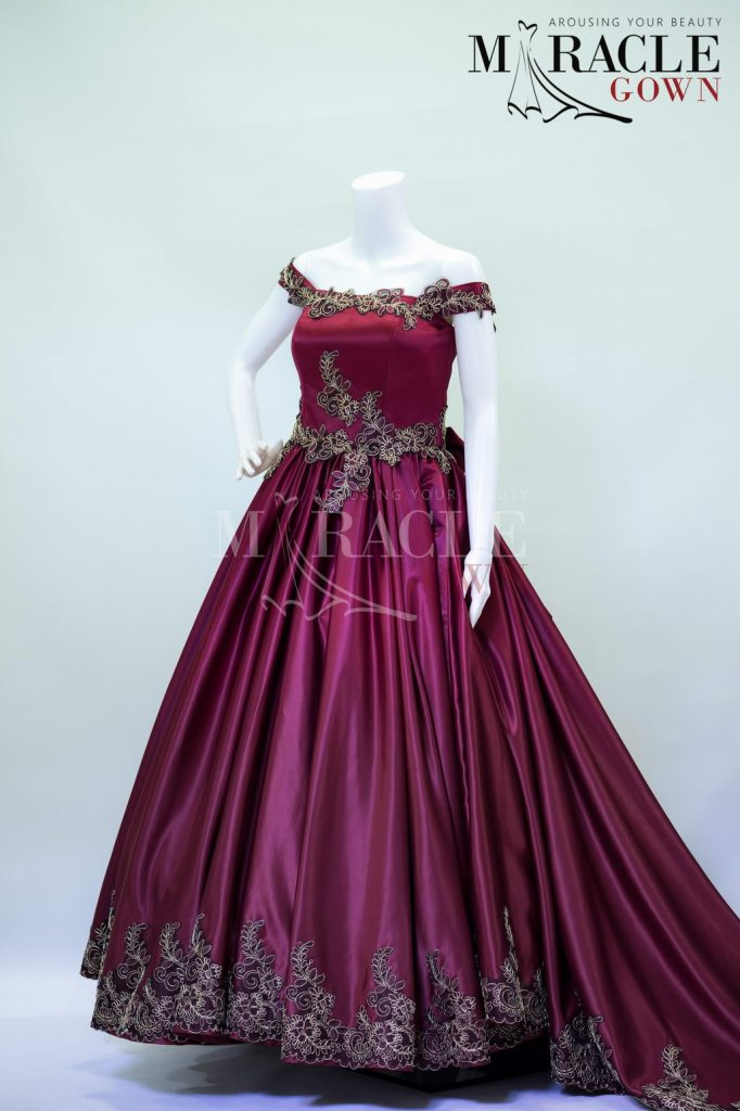 Sewa Gaun Surabaya - Miracle Gown - Gold floral strings in deep burgundy ball gown