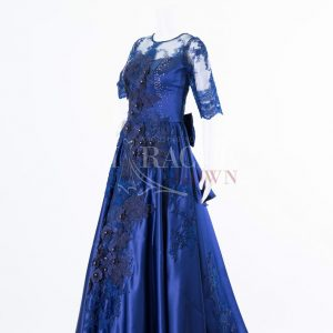Sewa Gaun Surabaya - Miracle Gown - Indigo beading to a midnight blue gown