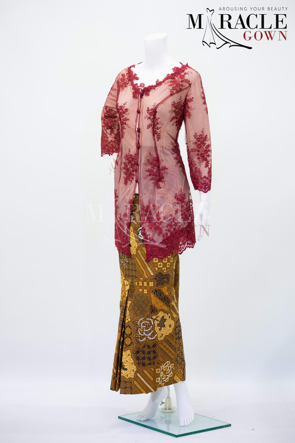 Sewa Gaun Surabaya - Miracle Gown - Sheer current red with merigold kebaya
