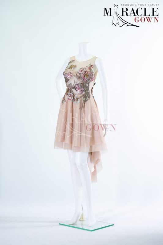 Sewa Gaun Surabaya - Miracle Gown - Sheer layeres cocktail dress under red tinted brocade