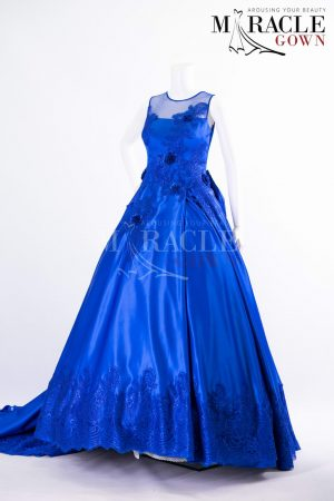 Sewa Gaun Surabaya - Miracle Gown - Single pleat cobalt blue ball gown with rustic roses