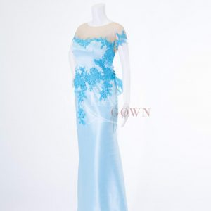 Sewa Gaun Surabaya - Miracle Gown - Sky blue tube gown wrapped in sapphire brocade