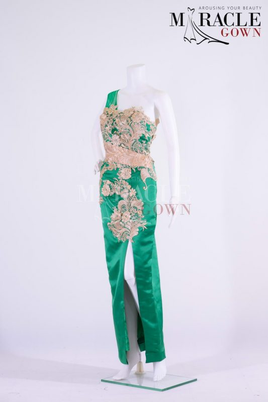 Sewa Gaun Surabaya - Miracle Gown - Asymetric carribean green tube evening gown