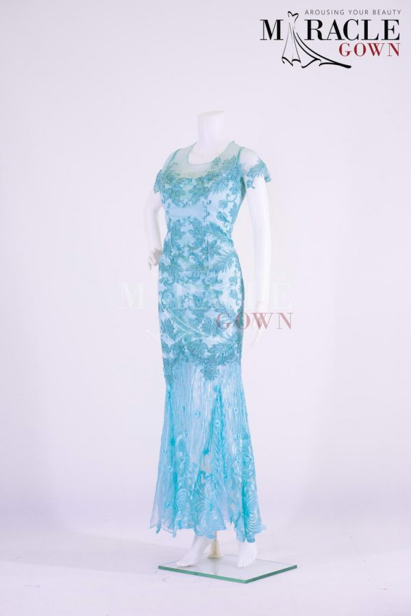 Sewa Gaun Surabaya - Miracle Gown - Frozen orchids pearl blue dyed evening gown