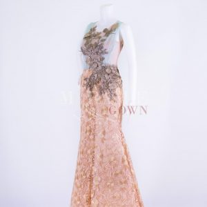 Sewa Gaun Surabaya - Miracle Gown - Golden rose crysan shaded in mint blue chiffon