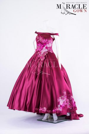 Sewa Gaun Surabaya - Miracle Gown - Pleated royal fuscia in a sabrina gown