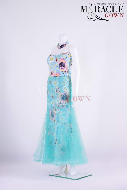 Sewa Gaun Surabaya - Miracle Gown - Printed carnation on turquoise blue flared gown