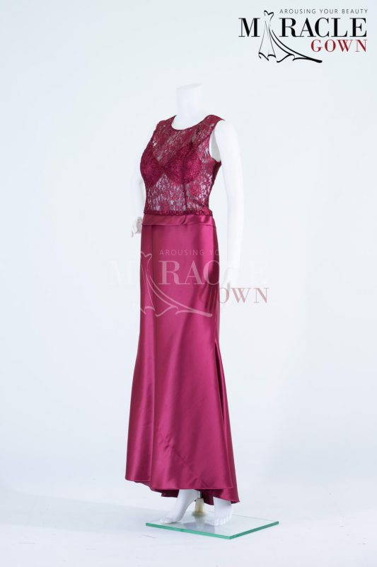 Sewa Gaun Surabaya - Miracle Gown - Purple wine tube gown with prada brocade