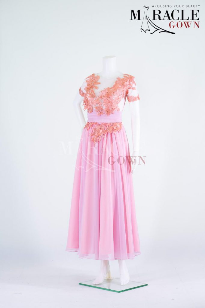 Sewa Gaun Surabaya - Miracle Gown - Sheer and pleats to a peach brocade gown