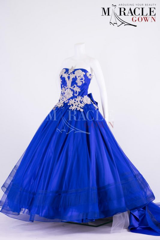 Sewa Gaun Surabaya - Miracle Gown - Strapless blue steel ball gown with silver floral carving