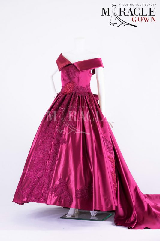 Sewa Gaun Surabaya - Miracle Gown - Two flaps sabrina burgundy ball gown