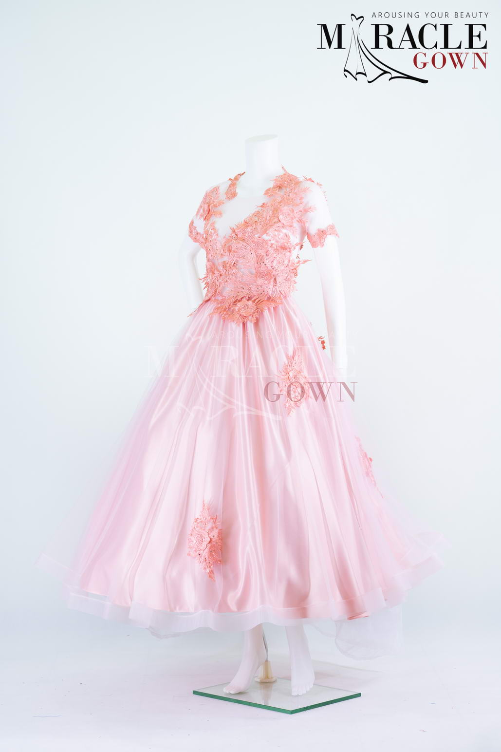 Sewa Gaun Surabaya - Miracle Gown - Vivid carnation brocade on sheer flare gown