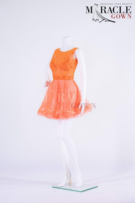 Sewa Gaun Surabaya - Miracle Gown - Vivid orange brocade on top of frothy cocktail