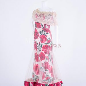 Sewa Gaun Surabaya - Miracle Gown - Pleated sheer cocktail with red rose prints